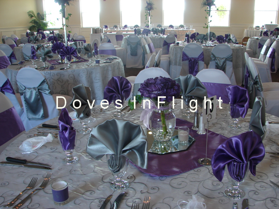 Silver Embroidered Overlay, Silver U0026 Purple Satin Napkins